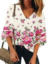 Женская свободная рубашка с v образным вырезом