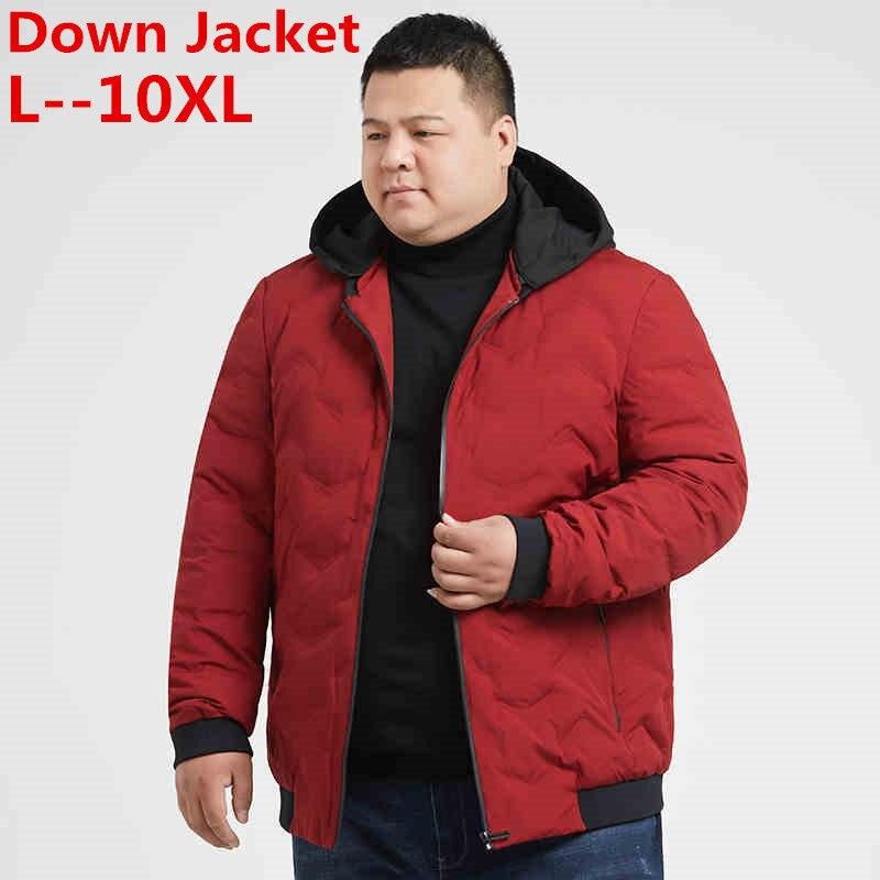 Plus Big 10XL 8XL 6XL 9XL Brand Thicken Winter Down Hooded Jacket Men Light Down For Men Hoodies Parka Coat Down Parka Male