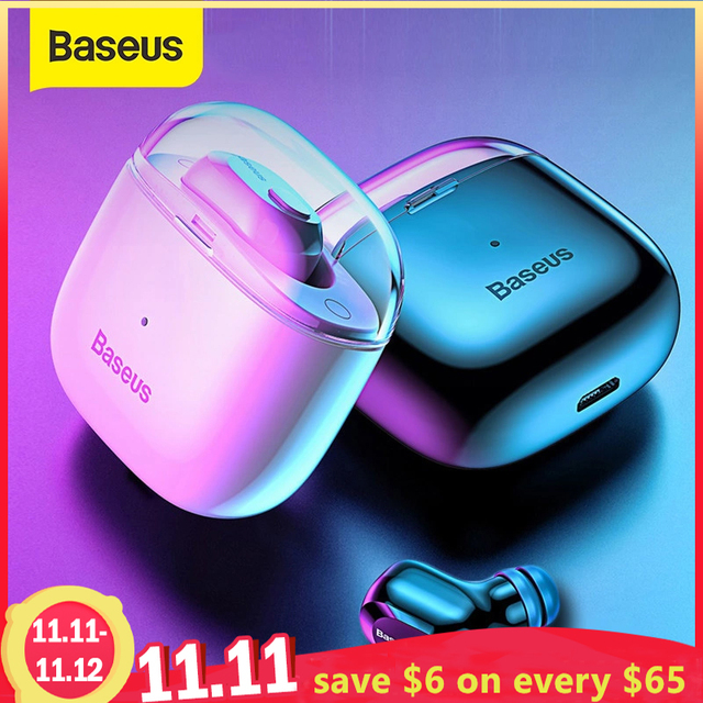 Baseus A03 Bluetooth Earphone Wireless Bluetooth 5.0 Headset With Stereo Mic Handfree Earphones for iPhone Samsung Xiaomi