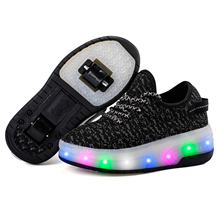 New Skate Shoes LED Flashing Kids Roller Skate Shoes Glowing Roller Shoes Luminous Sneakers Shoes air boys&girls Roller Skates
