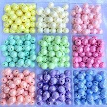 Grânulos acrílicos para fazer jóias macaron cor sólida ab cor grânulos redondos grânulos diy que fazem grânulos soltos plásticos feitos à mão