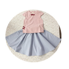 Poetry Bay Luo/ летний стиль; хлопковая льняная одежда с короткими рукавами в китайском стиле; детская одежда в стиле ретро; топы в китайском стиле с лягушкой; юбка