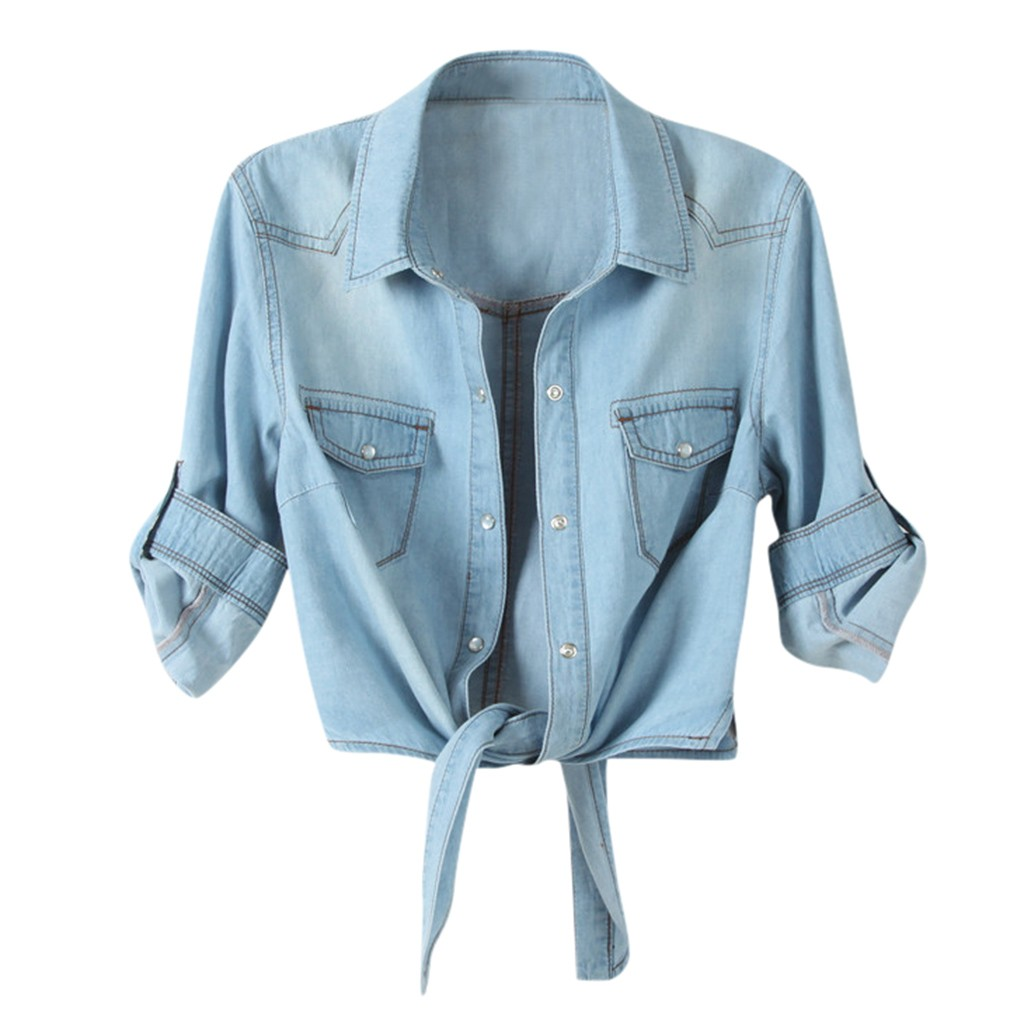H591189e81d9848088b763079c623f6c0U Women Summer Denim Jacket Knotted Casual Solid Buttons Sleeve Top Plus Size Short Pocket Fashion Jacket Feminina Ladies Coats