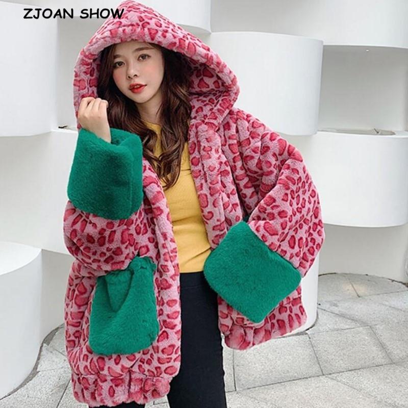 Oversized Winter Warm Hooded Large Size Contrast Color Leopard Faux Fur Coat New Casual Long Sleeve Women Fur Jacket Outwear