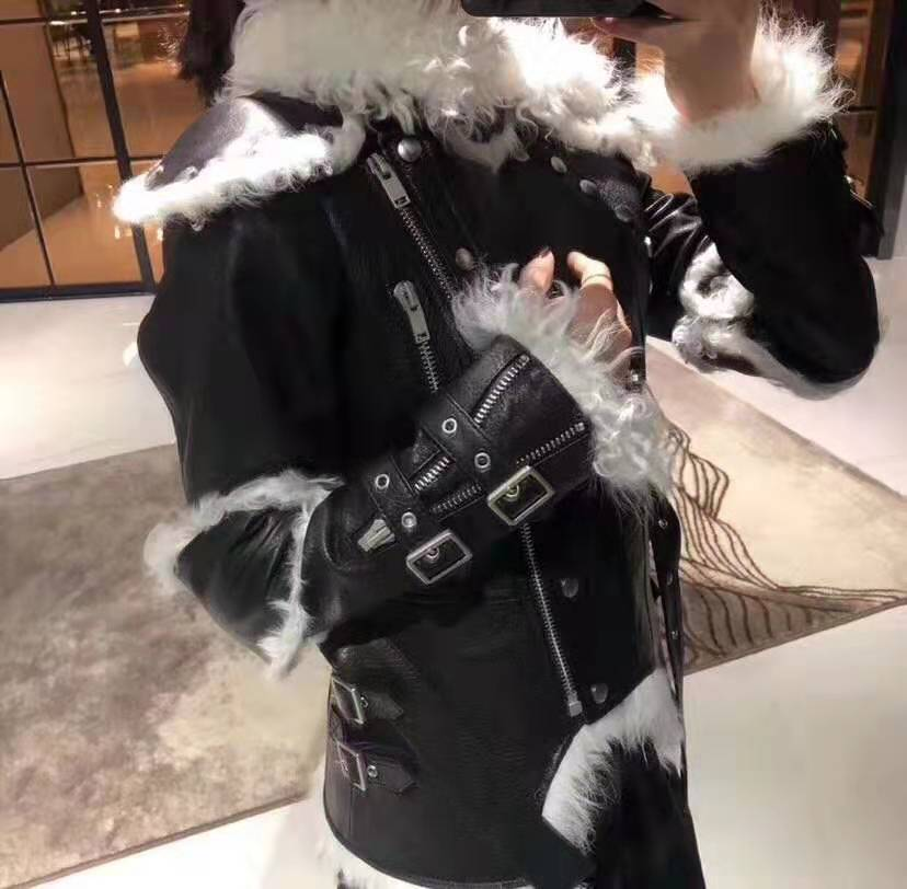 one natural sheep fur 2020 leather leather clothing female motorcycle clothing fur white liner knight wind thin jacket