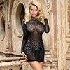 Comeondear Bodycon Dress Women Diamonds Clubwear Sexy Dress for Sex Transparent Long Sleeve  Jurken Zomer 2020 RB80918 2