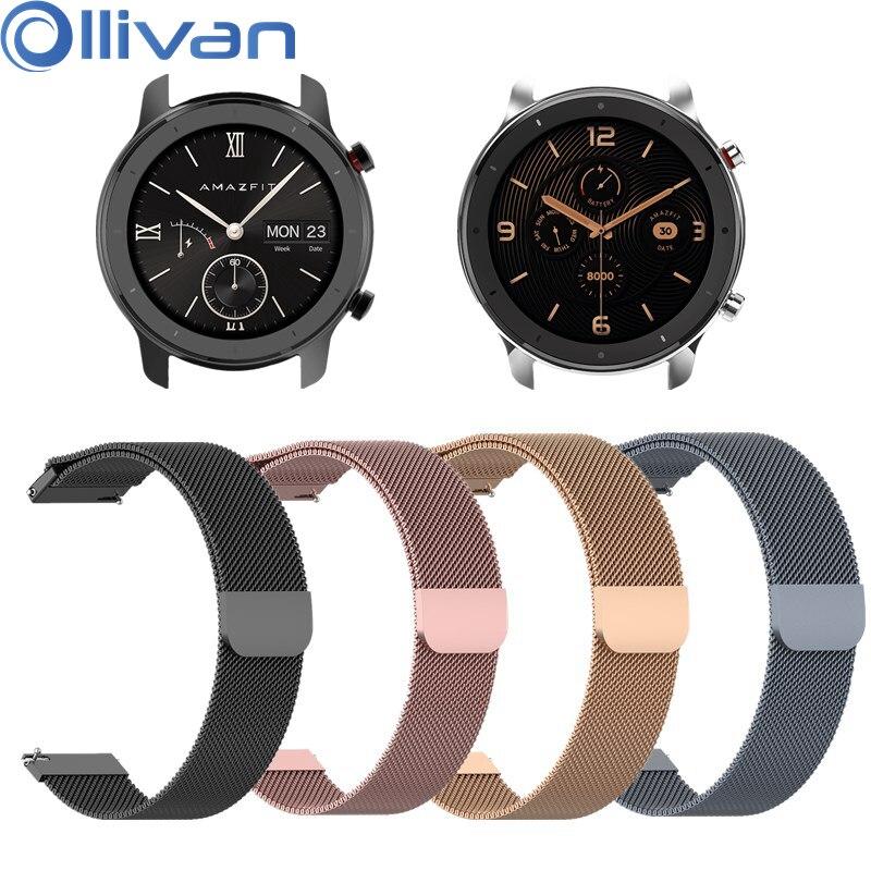 OLLIVAN Metal Milanese Loop Watch Band For Xiaomi Amazfit GTR 47 42 MM Strap Magnetic Bracelet For Amazfit GTR 42MM 47MM Bands