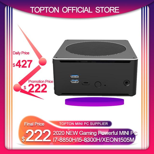 Игровой Компьютер Topton, Intel i7 8750H8850H/ i5 8300H/E3 1505M, 6 ядер, 12 потоков, кэш 12 МБ, Nvme M.2 Nuc, мини ПК, Win10 Pro, AC, Wi Fi