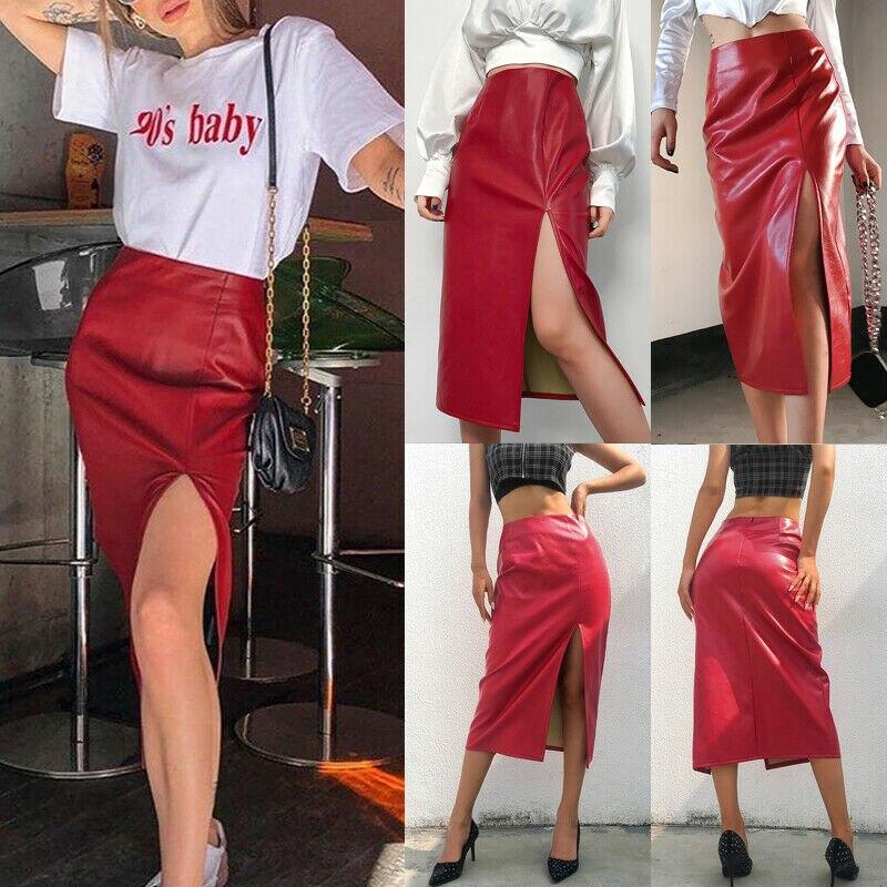 Fashion Red Leather Skirt Women Split Wrap Skirt High Waist Slim Pu Leather Bottom Skirt OL