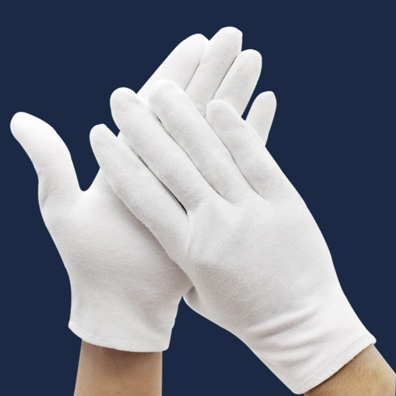 3 Pairs White Cotton Gloves Coin Gloves For Women Men Dry Hands Serving Archival Cleaning Jewelry Silver Inspection
