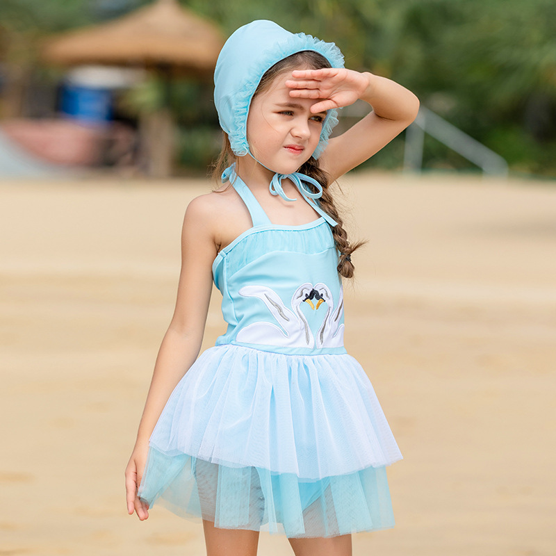 2019 New Style Korean-style Princess Dress-Swimwear GIRL'S Swimsuit CHILDREN'S Swimwear Dress + Hat One-piece