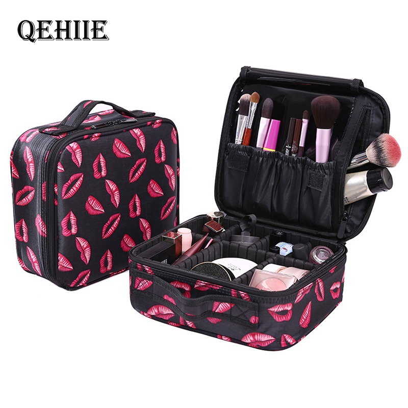 QEHIIE Professional Toiletry Bags Cosmetic Case Organizer Women Travel Make Up Cases Big Capacity Cosmetics Suitcases For Makeup