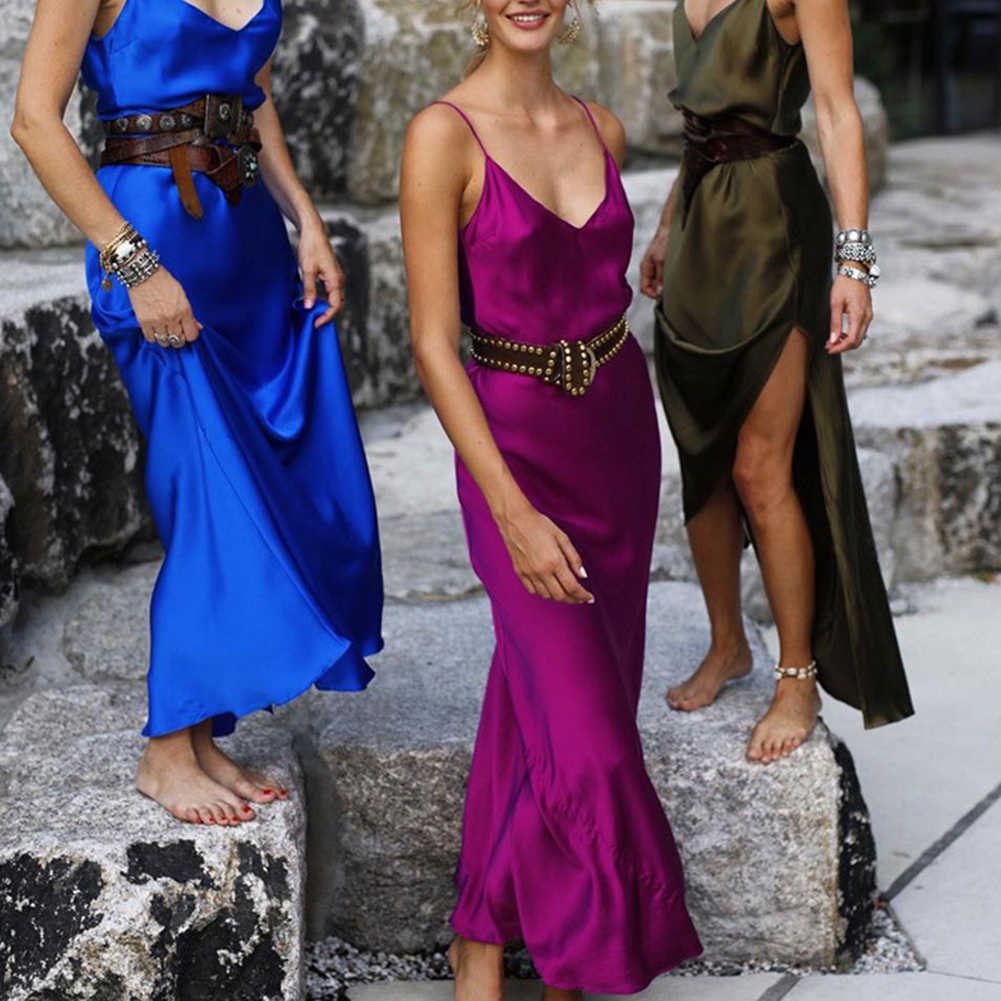 סקסי מקסי סאטן שמלת קיץ נשים סדק V צוואר מותן גבוה כתף שחור אדום להחליק משי ארוך שמלת המפלגה מועדון