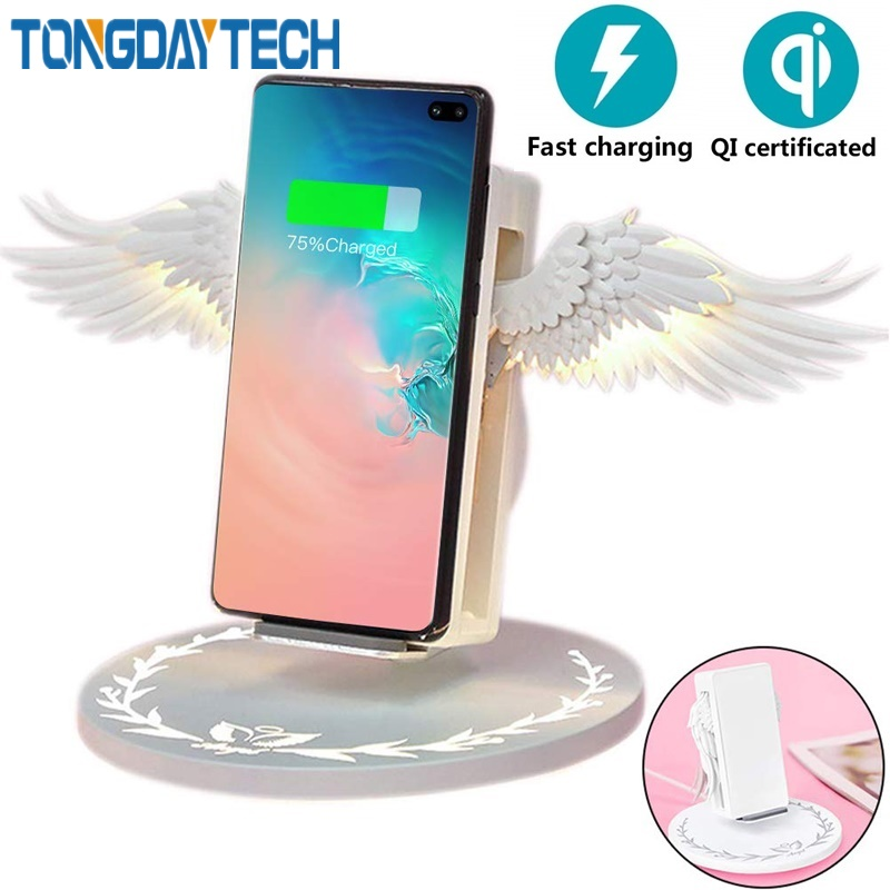 Tongdaytech 10W Angel Qi Wireless Charger For IPhone 8 Plus X XS 11 Pro MAX XR Phone Fast Wireless Charger For Samsung S10 S9 S8