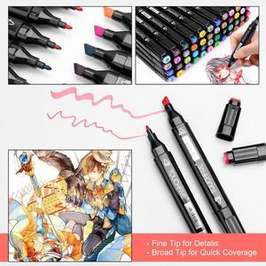 Image 5 - أقلام TOUCHFIVE بعدد ألوان 12 36 48 80 168 لون ثنائية الأطراف, أقلام رسم جرافيك كحولية تستخدم للتحديد المرجعي ولوازم الرسومات الفنية