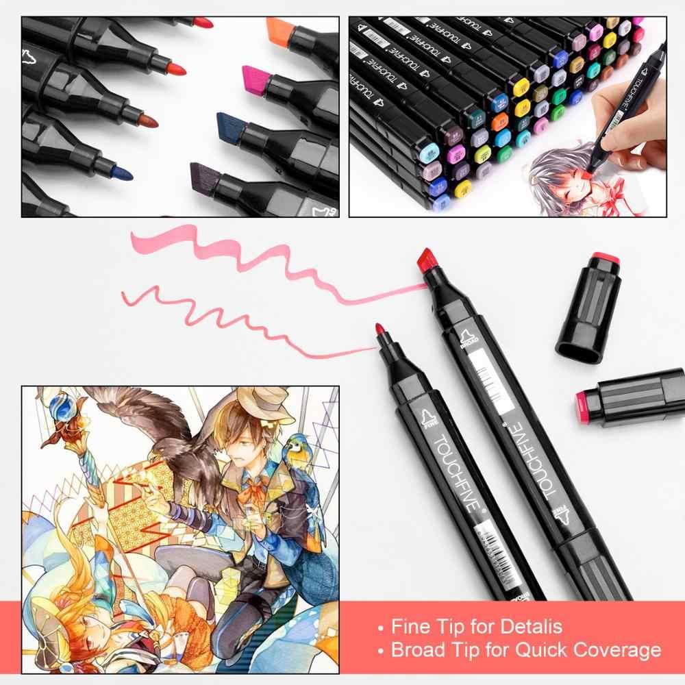 TOUCHFIVE İşaretleyiciler 12 36 48 80 168 renk çift uçlu alkol grafik eskiz belirteçleri kalem imi Manga çizim sanat malzemeleri