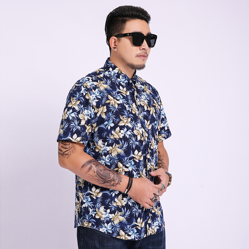 8XL 6XL 5XL Men Shirt Mens Business Casual Shirts 2020 New Arrival Men Famous Brand Clothing Print Short Sleeve Camisa Masculina