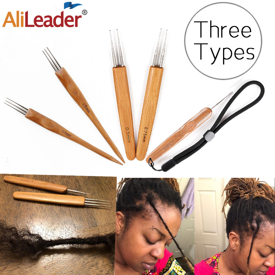 Alileader Crochet Hook For Dreadlocks Wig Needle 1/2/3 Hook Needle Hair Extension Tool Braider 0.5Mm/0.75Mm Bamboo Needle Holder