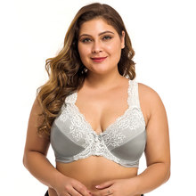 Plus Size Bra Lager Bosom Lace Embroidery Minimizer Bra For Womens Sexy Underwire Bralette Brassiere Top F G H I Cup