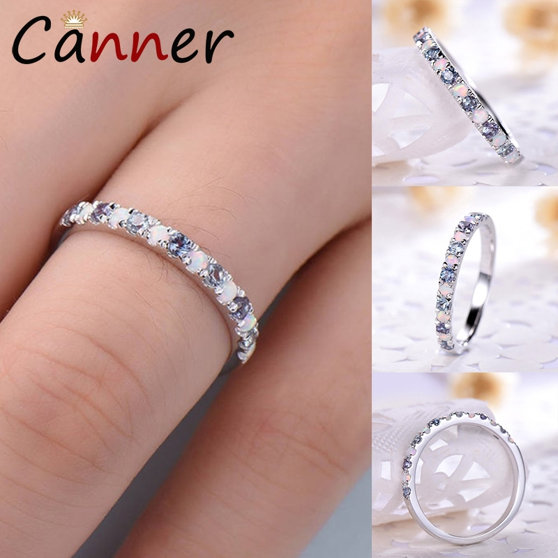 Fashion Engagement Ring Gift Simple Style Crystal Rings Silver Ring Jewelry FI