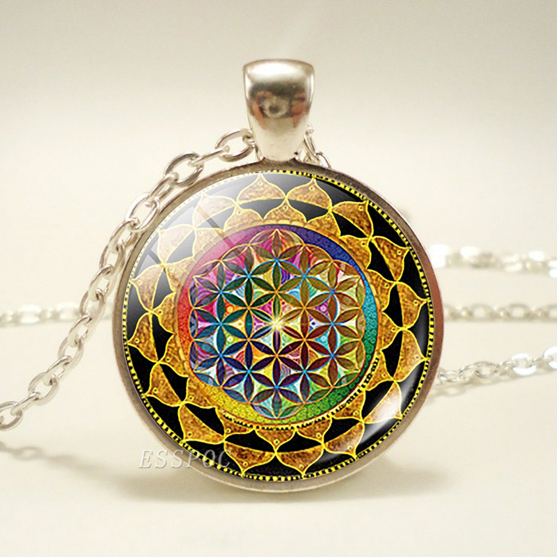 Sri Yantra Mandala Pattern Glass Cabochon Pendant Necklace Buddhist Sacred Geometry Silver Chain Necklace Spiritual Jewelry in Pendant Necklaces from Jewelry Accessories