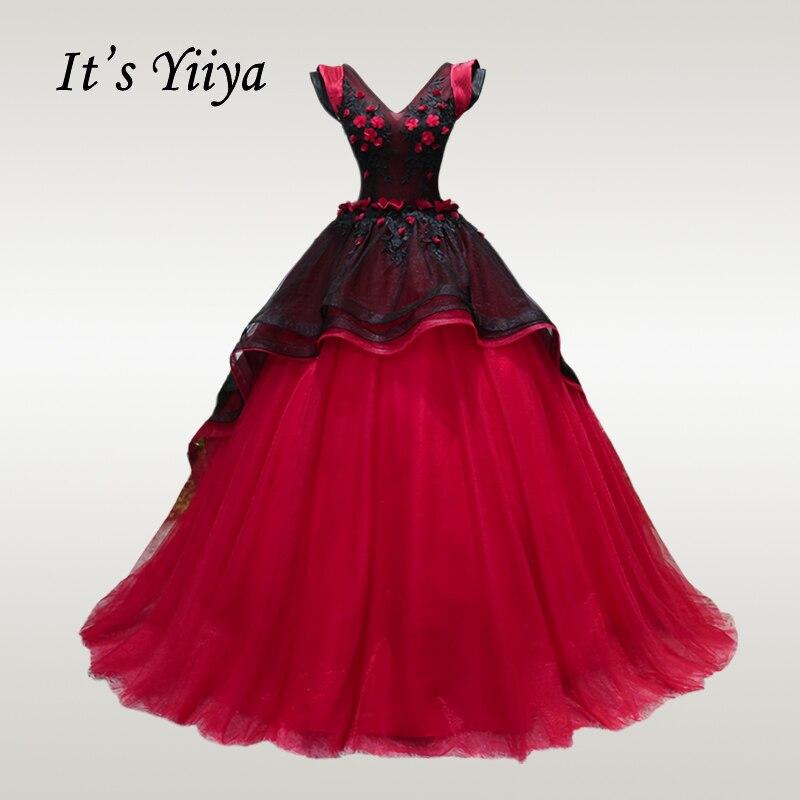It's YiiYa Wedding Dress V-neck Sleeveless Floor Length Wedding Dresses Elegant Floowers Lace Plus Size Robe De Mariee CH064