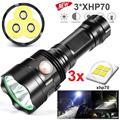 Светодиодный фонарик 3 * XHP70 фонарь USB Перезаряжаемый водонепроницаемый фонарь ультра яркий высокомощный  перезаряжаемый светодиодный фона...