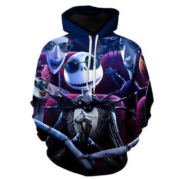 Jack skeleton-sudadera con capucha para mujer, Jack Sally, 3d, harajuku, ropa de calle de Halloween, para invierno