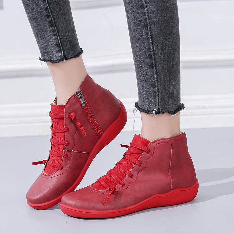 Rimocy Autumn Winter 2019 Woman Ankle Boots Soft Leather PU Round Toe Flat Red Brown casual booties Women Concise Vintage Shoes