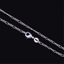 1PCS Pure 925 Silver Necklaces For Women 16-30 inch 2mm Figaro Chain Necklace Wedding Bridal Jewelry Accessories(China)