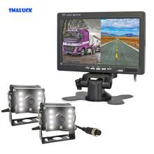 "SMALUCK DC12V - 24V 7"" 2 Split LCD Screen Car Monitor LED CCD Backup Rear View Car Camera System for Bus Houseboat Truck(China)"