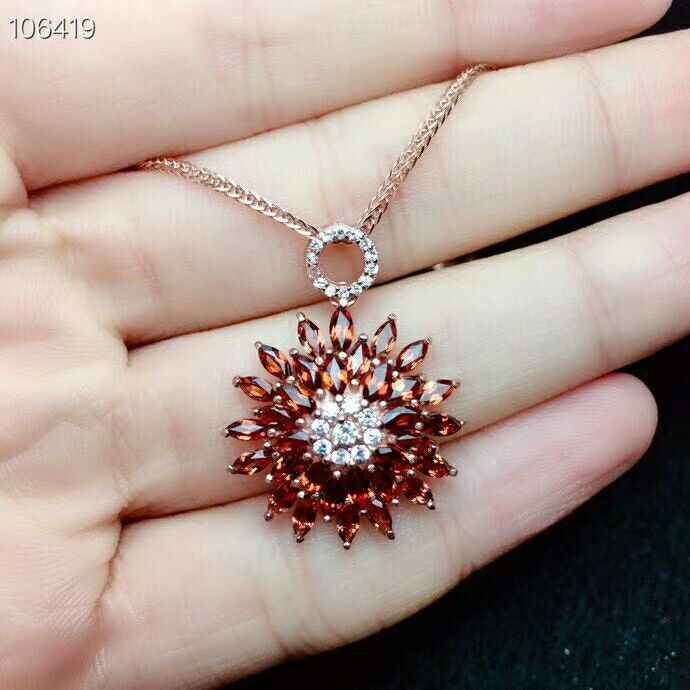 MeiBaPJ Natural Garnet Gemstone Flower Pendant Necklace  100% Real 925 Solid Silver Red Stone Fine Charm Jewelry for Women