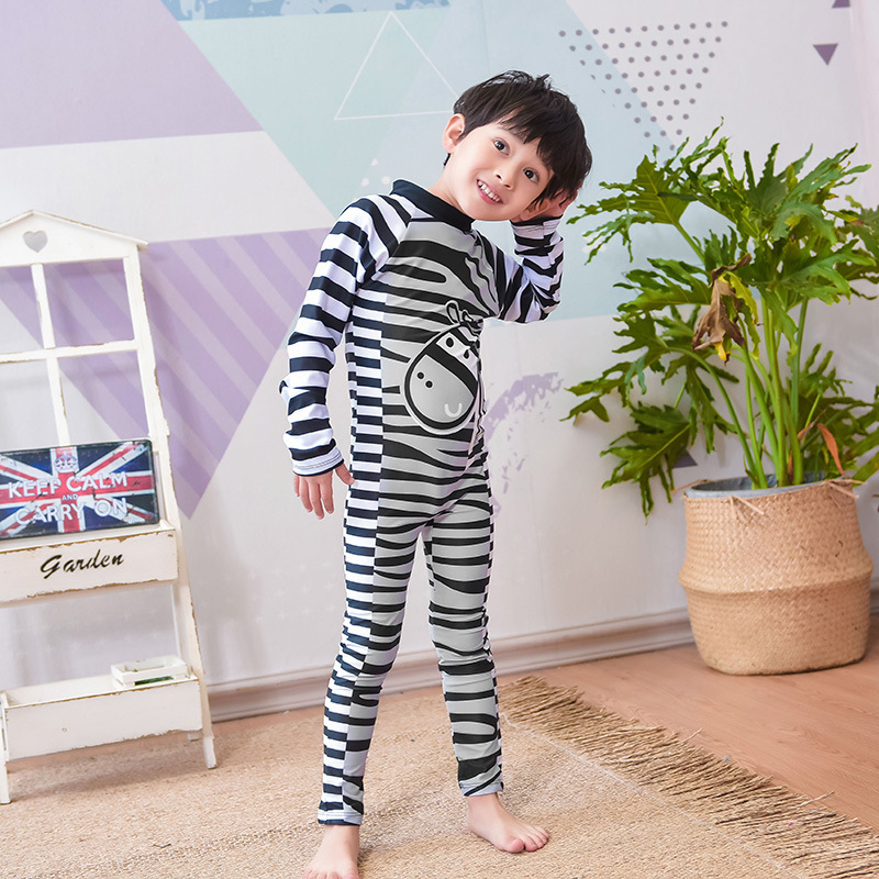 New Style Korean-style One-piece Big Kid Diving Suit Cartoon Long Sleeve Trousers Quick-Dry CHILDREN'S Swimsuit BOY'S Swimming S