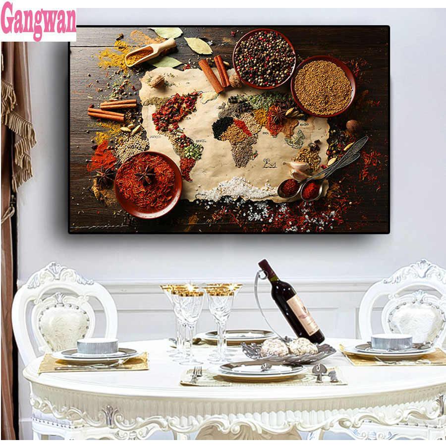 Especias Condimento diamante diseño de bordado de pintura de decoración de Taladro Cuadrado Completo