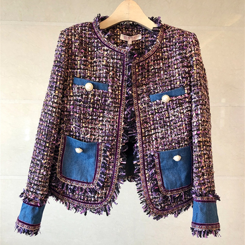 HAMALIEL новый небольшой аромат пальто осень зима твидовые Лоскутные Пальто с кисточками в виде мохнатых Винтаж Женская тканая бахрома ретро куртка пальто