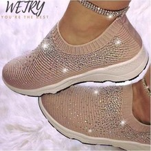2020 Women Shoes Knitting Sock Sneakers Women Spring Summer Slip on Flat Shoes Women plus Size Loafers Flats Diamond Flats Shoes(China)