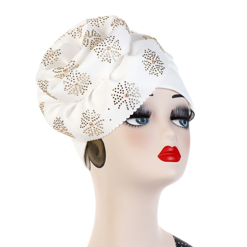 Image 4 - Helisopus Muslim Big Flowers Turban Women Shiny Glitter Oversized  Flower Hijab Bandana Head Cover Beanie Chemo Caps AccessoriesWomens  Hair Accessories