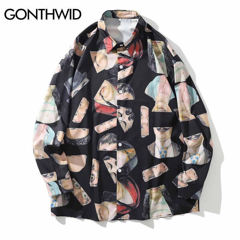 GONTHWID Creative דיוקנאות הדפסה ארוך שרוול שמלת חולצות גברים Harajuku לחצן למטה חולצה Streetwear היפ הופ אופנה מזדמן חולצות