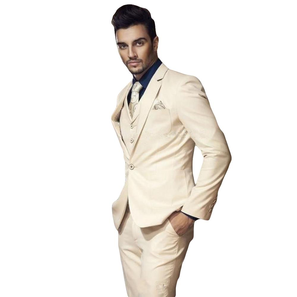 2019 New Arrival Champagne Single Button Men Suit Custom Made Slim Fit Wedding Tuxedos Mens Business Party Suit Terno Masculino
