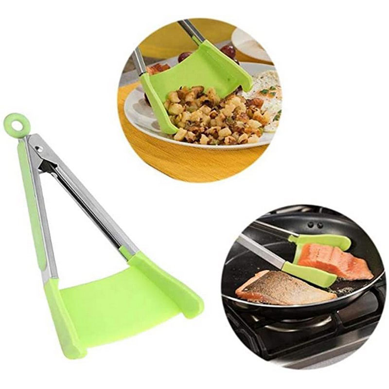 2 In 1 Kitchen Utensils Spatula and Tongs Smart Gadget Tool 26.5cm Non-Stick BPA Free Resistant Dishwasher Heat Safe Cookware