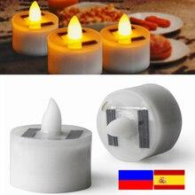 Wholesale Solar Candle Light Flickering LED Tea Light Flameless Romance Night Light Indoor Outdoor Party Wedding Lighting Decors