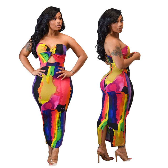 Sexy Printed Strapless Long Dress Women Summer Sleeveless Neon Tie-Dye Outfit Sundress Club Night Party Bodycon stretchy Dresses 4