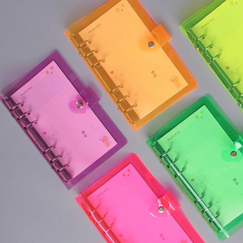A5 A6 A7 Binder Loose-Leaf Notebook School Office Planner Stationery Laser Cover Diary Notebook PVC Button Gift Glitter