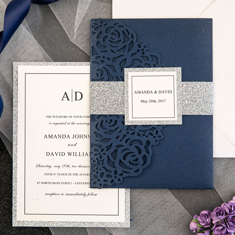 (50 pieces/lot) Laser Rose Navy Blue Wedding Invitations Tri-Fold Customized Silver Glittery Birthday Greeting RSVP Cards IC132