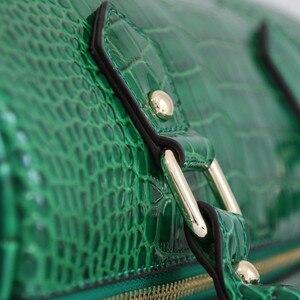Image 5 - Luxo boston saco de couro genuíno das mulheres saco \ bolsa de leopardo padrão marca senhora travesseiro tote bolsa de ombro grande bolsa crossbody