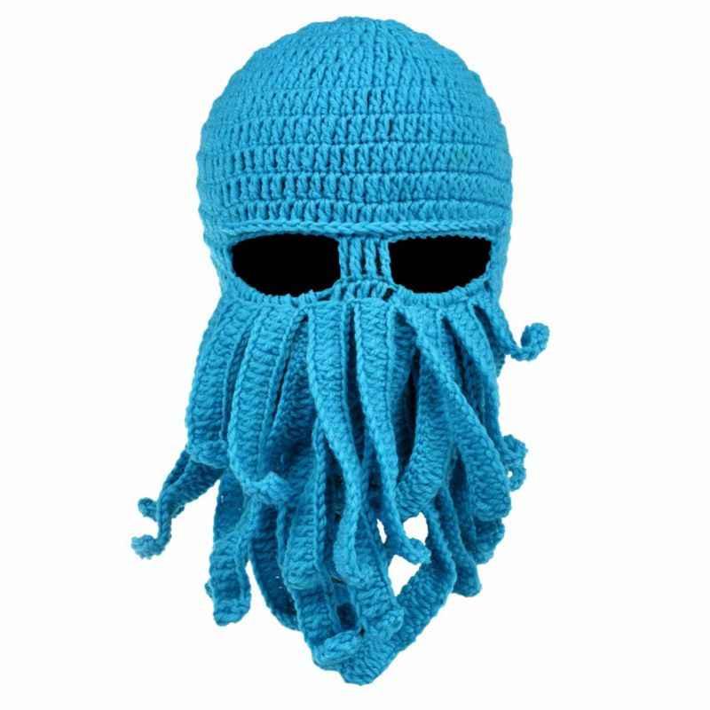 Männer Frauen Kreative Lustige Tentakel Octopus Gestrickte Hut Lange Bart Beanie Kappe Balaclava Winter Warme Halloween Kostüm Cosplay Maske