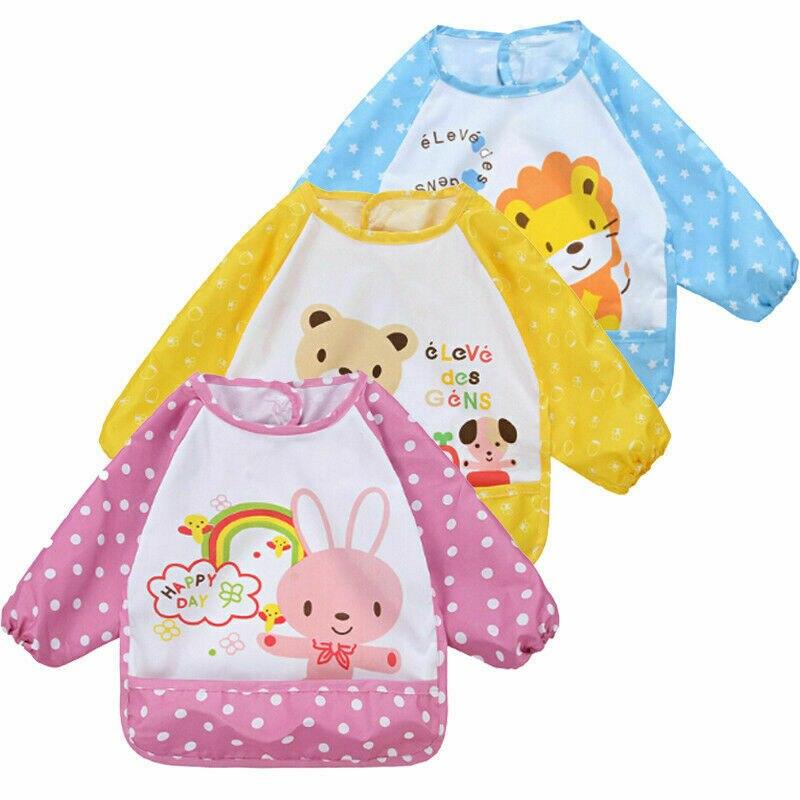 Baby Double Lace Waterproof Gown Toddler Baby Bibs Bib Apron Waterproof Art Smock Feeding Cute Cartoon Kids Children Cover Ups