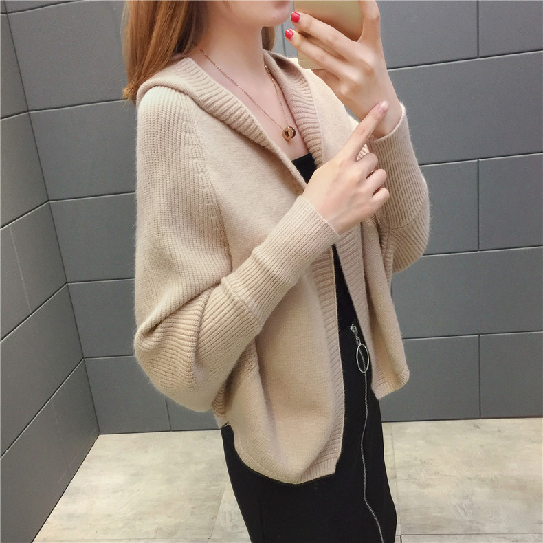 2019 Free send New style Korean loose and comfortable Autumn women Cardigan Sleeve of bat Hooded Sweater coat 120