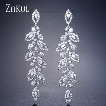 ZAKOL Fashion Korean CZ Leaf Wedding Jewelry Marquise AAA Cubic Zirconia Long Drop Bridal Earrings For Elegant Women FSEP2144 gulicx zircons elegant drop aaa cubic zirconia long big crystal bridal earring for wedding jewelry