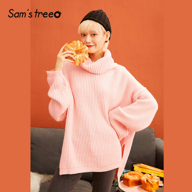 SAM'S TREE Pink Solid Minimalist Style Pullover Sweater Women 2019 Winter Drop Shoulder Sleeve Knitted Office Ladies Sweaters
